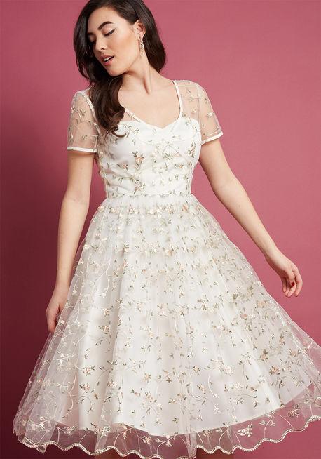 19046767d5f Budget Tea Length Wedding Dress - SaveOnTheDate